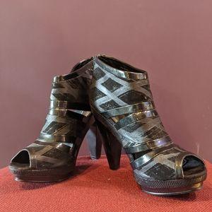 "Fergie ""Thief"" Bandage Leather, Double Platform, Open Toe Booties"